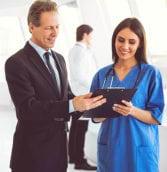businessman and nurse talking